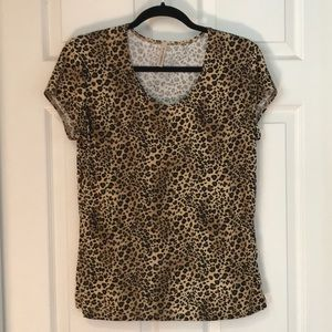 Susan Lawrence leopard print cap sleeve top